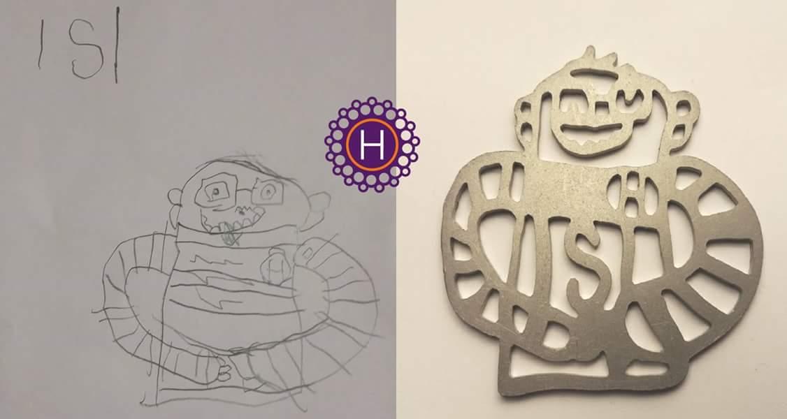 Lapsen piirustuksesta valmistettu koru I Unique Jewellery made from child's drawing