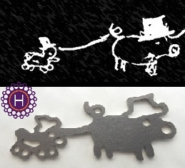 Lapsen piirustuksesta valmistettu koru, materiaalina ruostumaton teräs I Unique Stainless steel Jewellery made from child's drawing